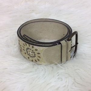 Wide Leather Belt Embellished Festival Boho Style